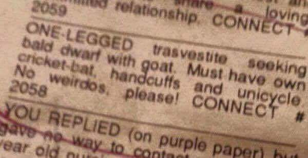 Great Moments in Advertising: No Weirdos Please!