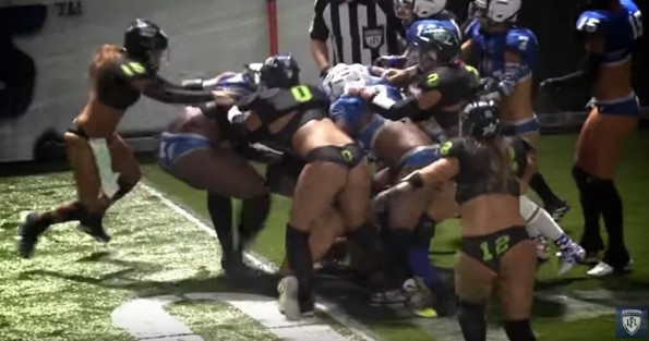 LFL player brilliantly drags opponent along by the hair