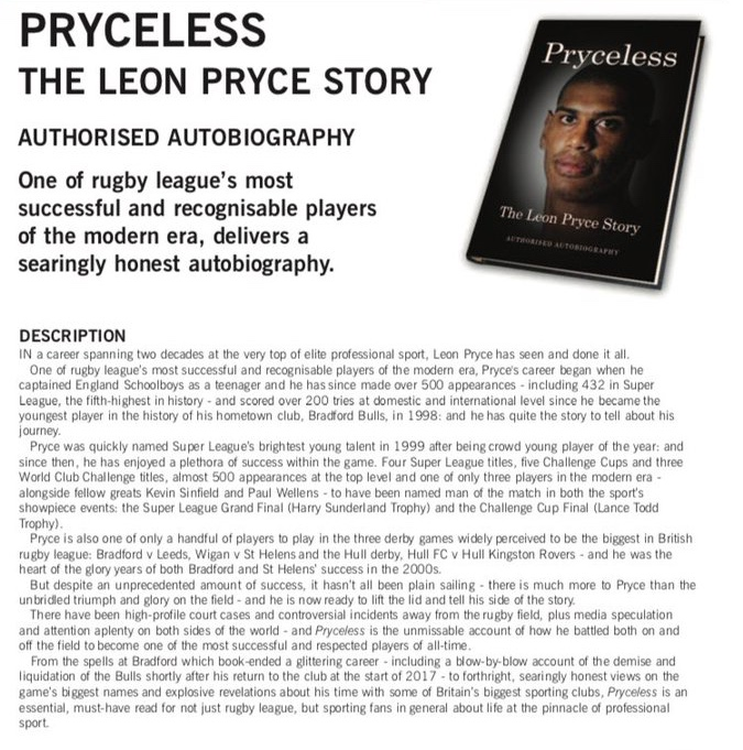 I bet you won't be able to put down this new Leon Pryce autobiography